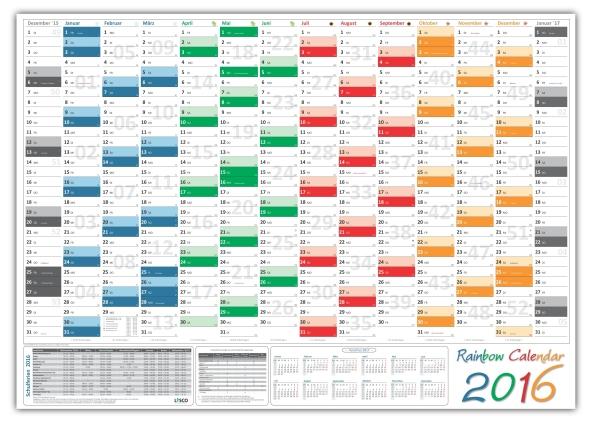 xxl rainbow wandkalender a0 2016 wandplaner mit ferien feiertage vorschau 2017 ebay. Black Bedroom Furniture Sets. Home Design Ideas