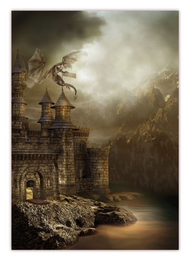 xxl poster 100 x 70cm drachen attackiert festung fantasy. Black Bedroom Furniture Sets. Home Design Ideas
